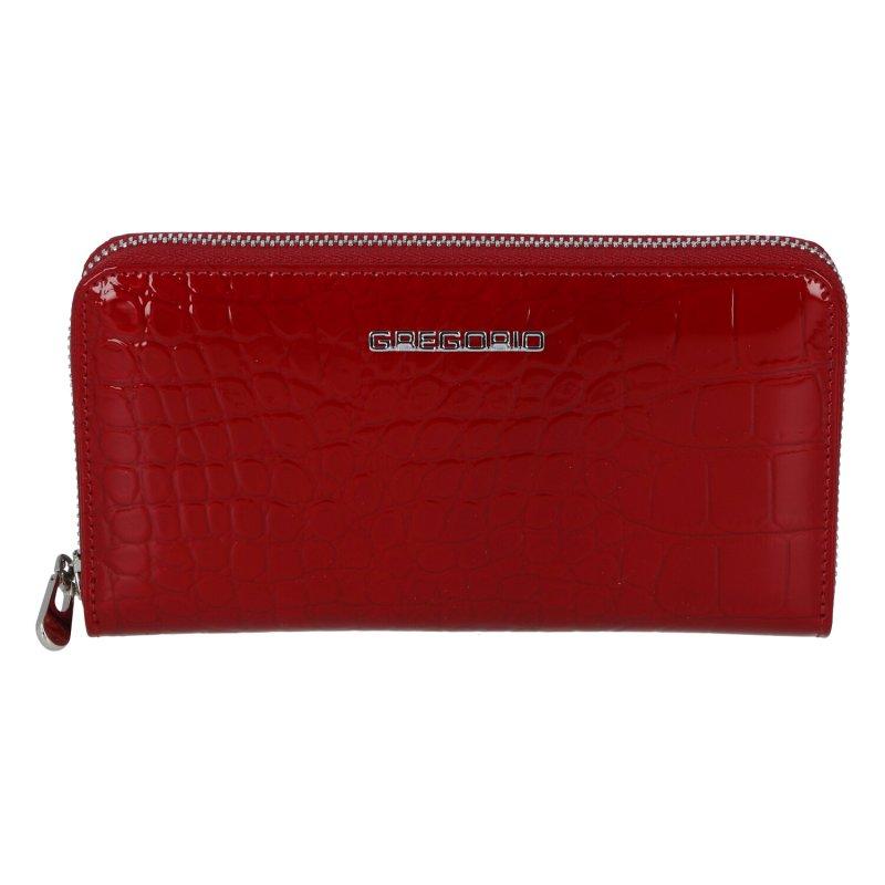 Větší lakovaná peněženka na zip se vzorem kůže Adele, červená