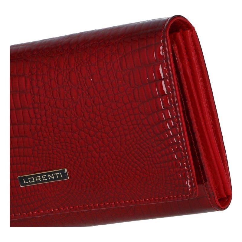 Kožená lakovaná peněženka se vzorem kůže Rose, červená