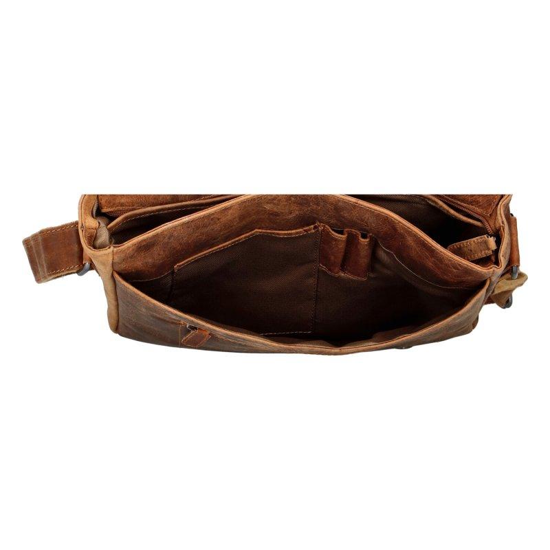 Prostorná pracovní taška s klopou Mick, hnědá