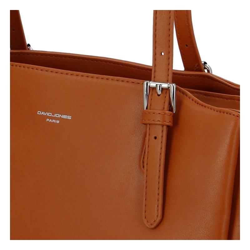 Prostorná dámská koženková kabelka Sirina, koňaková