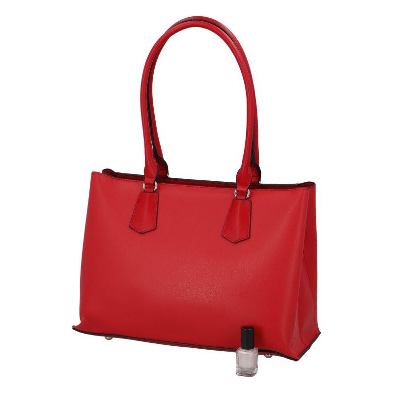 Praktická dámská koženková kabelka Simone, červená