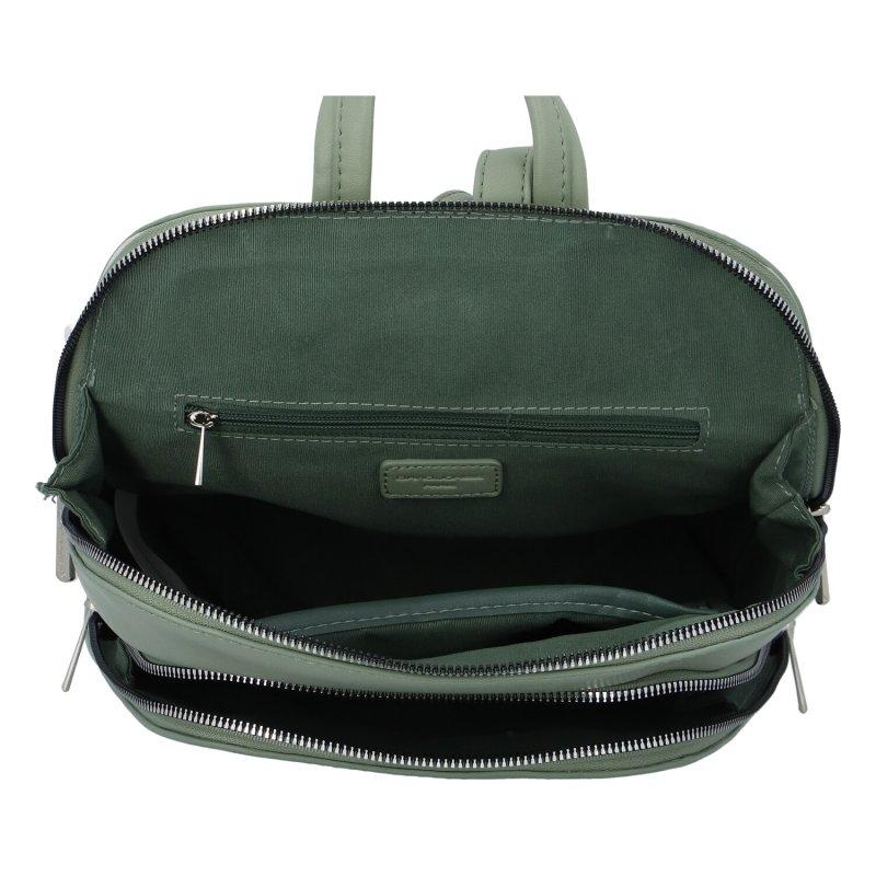 Městský módní koženkový batoh Siva, zelenkavá