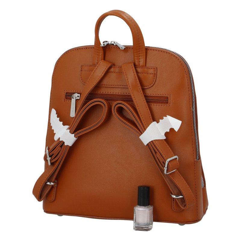 Městský módní koženkový batoh Siva, koňaková