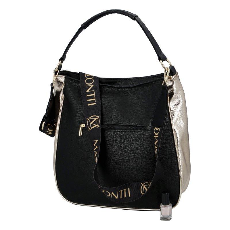 Dámská koženková kabelka MASSIMO Queen of beige, černo-zlatá