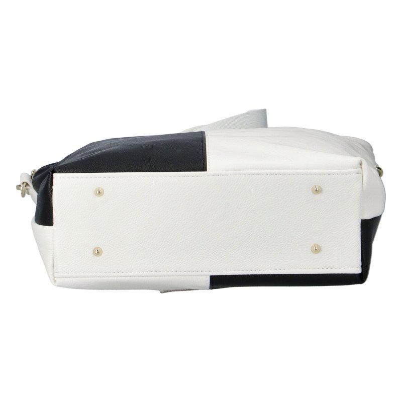 Působivá dámská koženková kabelka Massimo Conti, černo-bílá