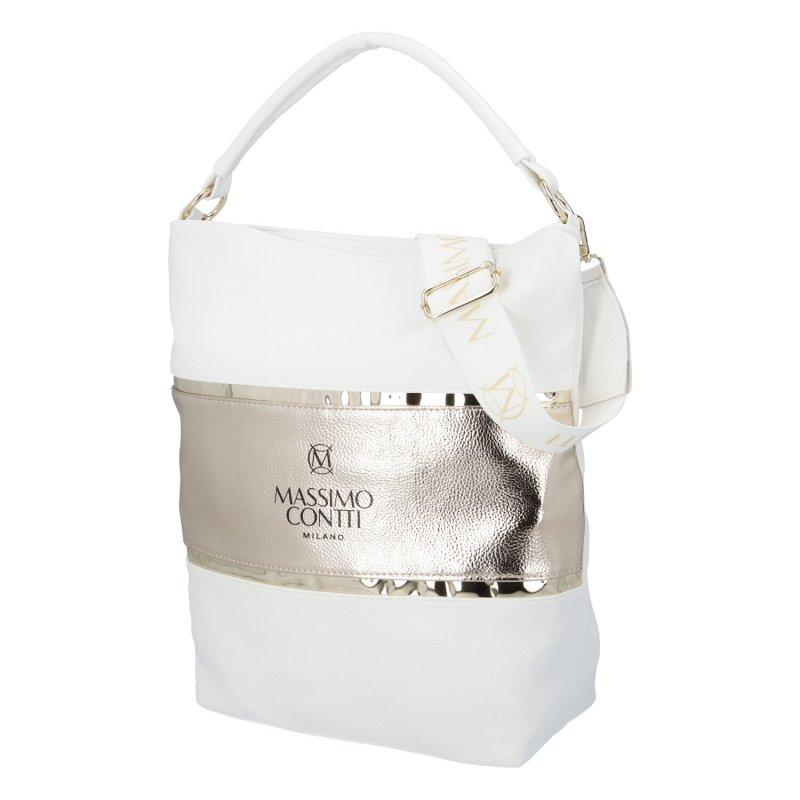 Dámská koženková kabelka Trendy MCO, bílo-zlatá