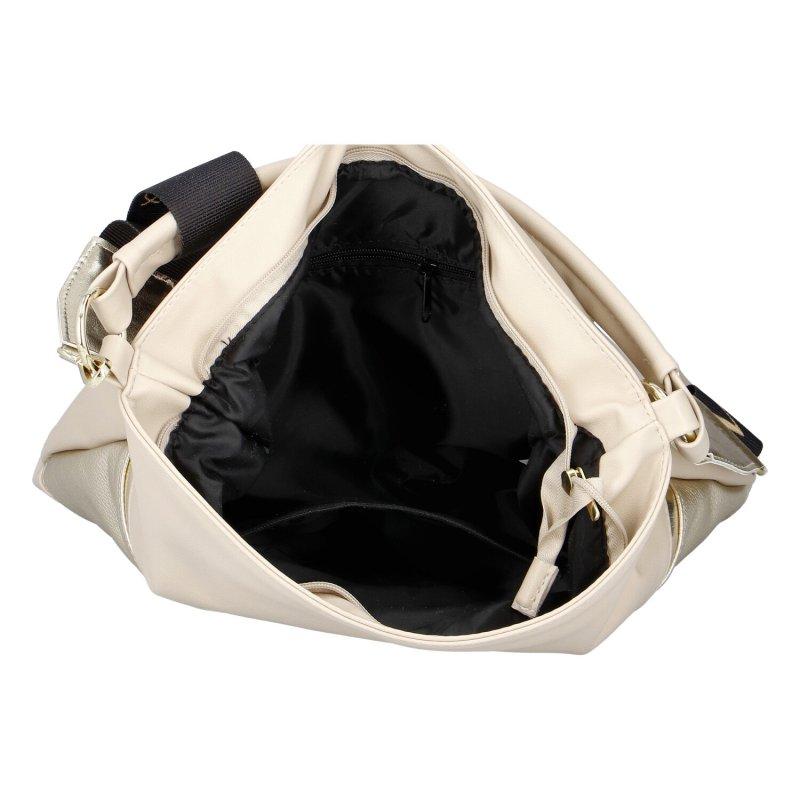 Dámská koženková kabelka Trendy MCO, béžovo-zlatá