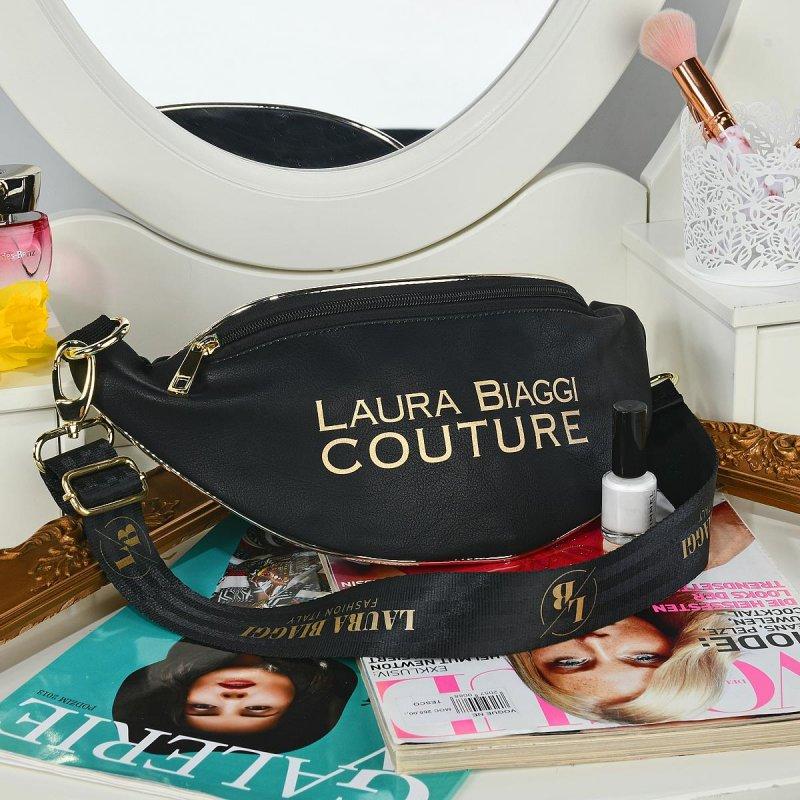 Moderní dámská koženková ledvinka LB Couture, černá