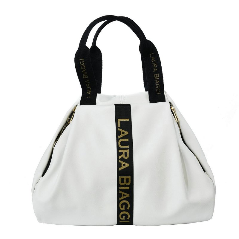 Moderní dámská koženková kabelka LB Madona, bílá