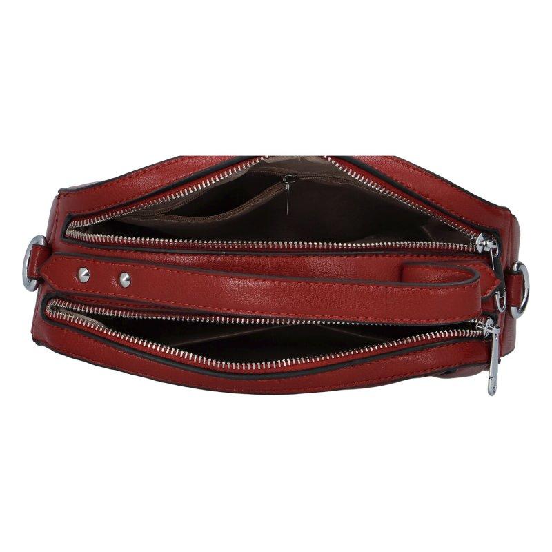 Praktická dámská koženková kabelka Anjita, červená