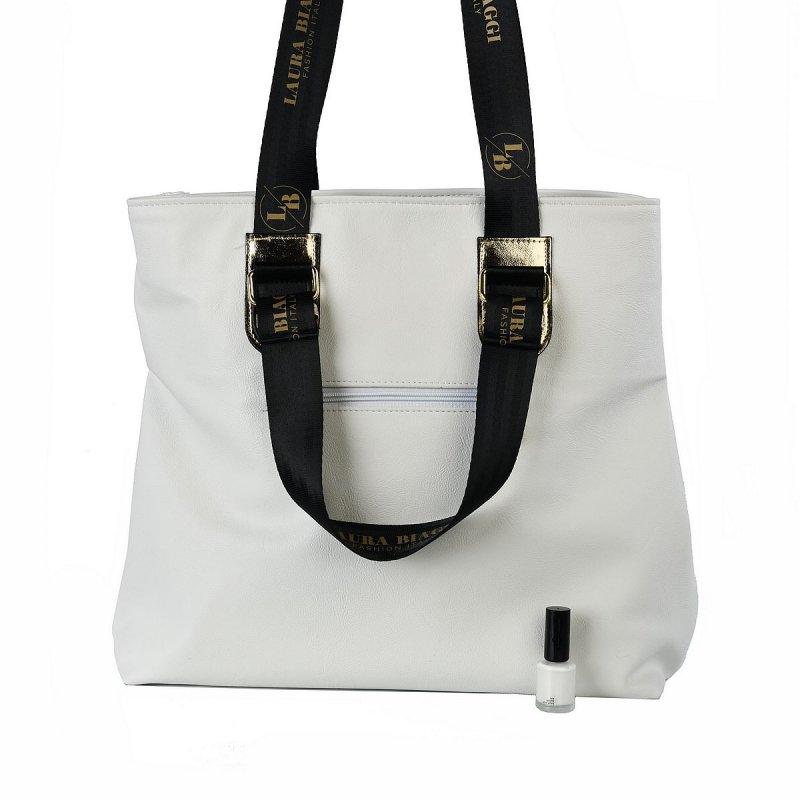 Dámská koženková kabelka LB Street, bílá