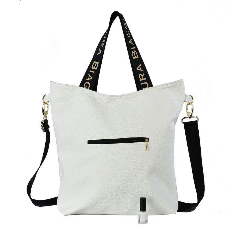 Moderní dámská koženková kabelka LB Elma, zlato bílá
