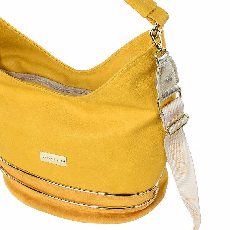 Stylová dámská koženková kabelka LB Lana, žlutá