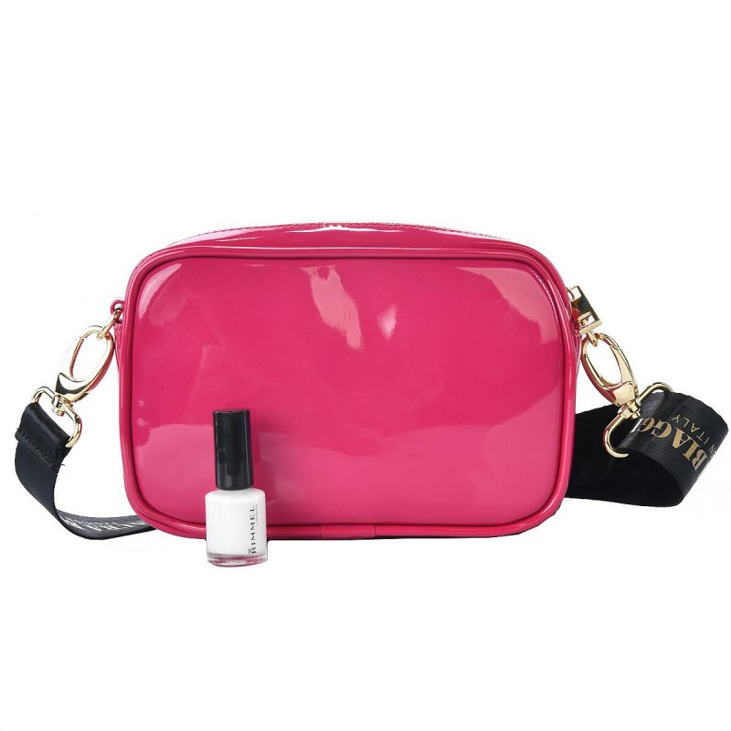 Trendová dámská koženková kabelka Laura B. Fuchsia dream, růžová
