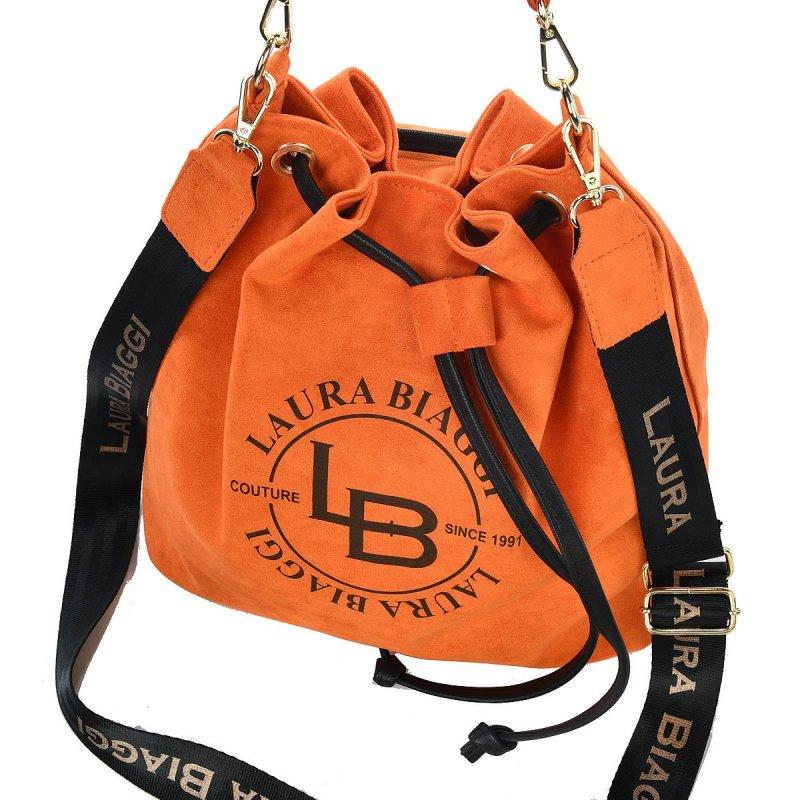 Dámská koženková kabelka pytel Laura B., oranžová