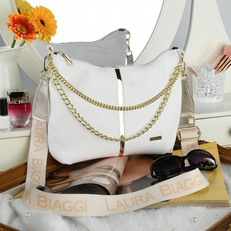 Trendová dámská koženková kabelka Laura Biaggi Stylish, bílá