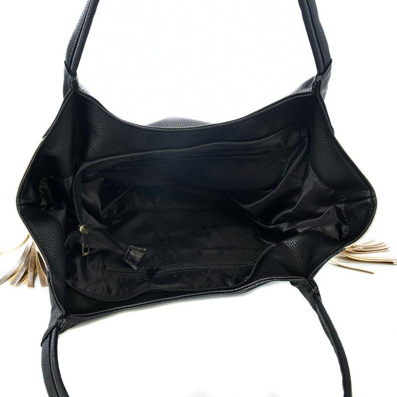 Trendová dámská koženková kabelka Laura Biaggi Elegance queen, černo zlatá