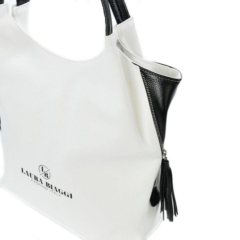 Trendová dámská koženková kabelka Laura Biaggi Elegance queen, bílo černá