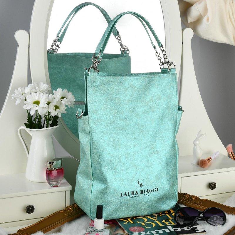 Trendová dámská koženková kabelka Laura B. Green lady, zelená