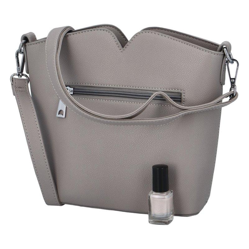 Praktická dámská koženková kabelka Ankica, šedá