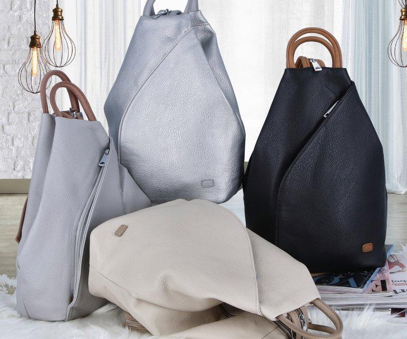 Dámský koženkový batůžek Ellie, stříbrný