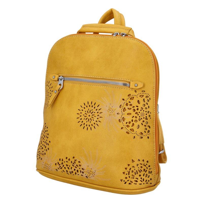 Dámský koženkový batůžek s květy Amber, žlutý