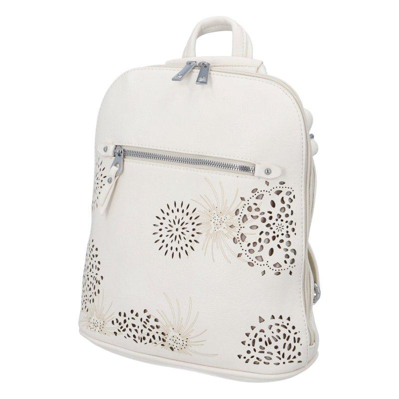 Dámský koženkový batůžek s květy Amber, béžový