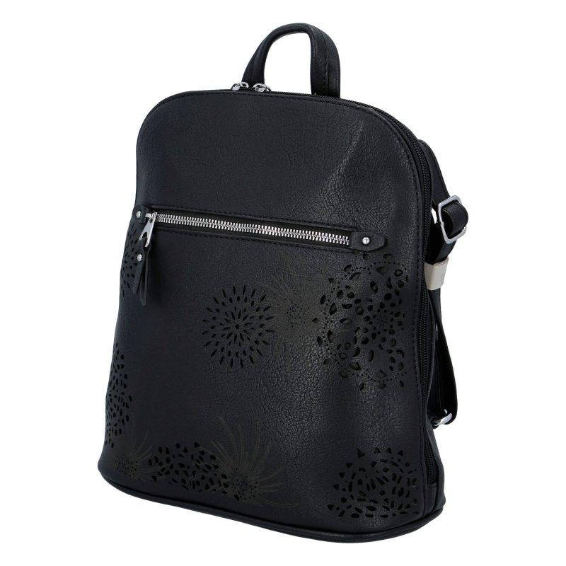 Dámský koženkový batůžek s květy Amber, černý