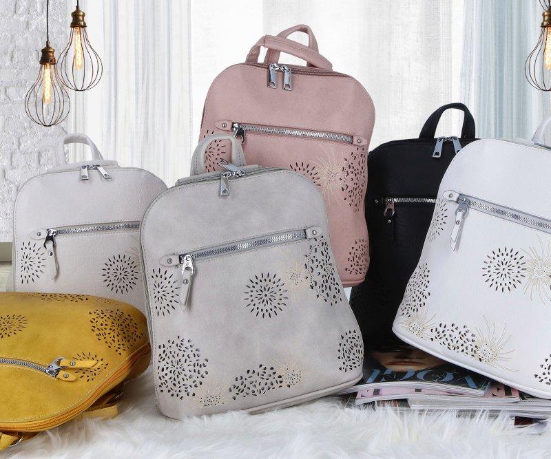 Dámský koženkový batůžek s květy Amber, růžový