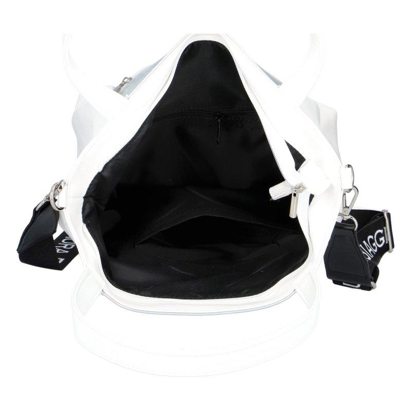 Extravagantní dámská kabelka LB Shine, bílo-stříbrná