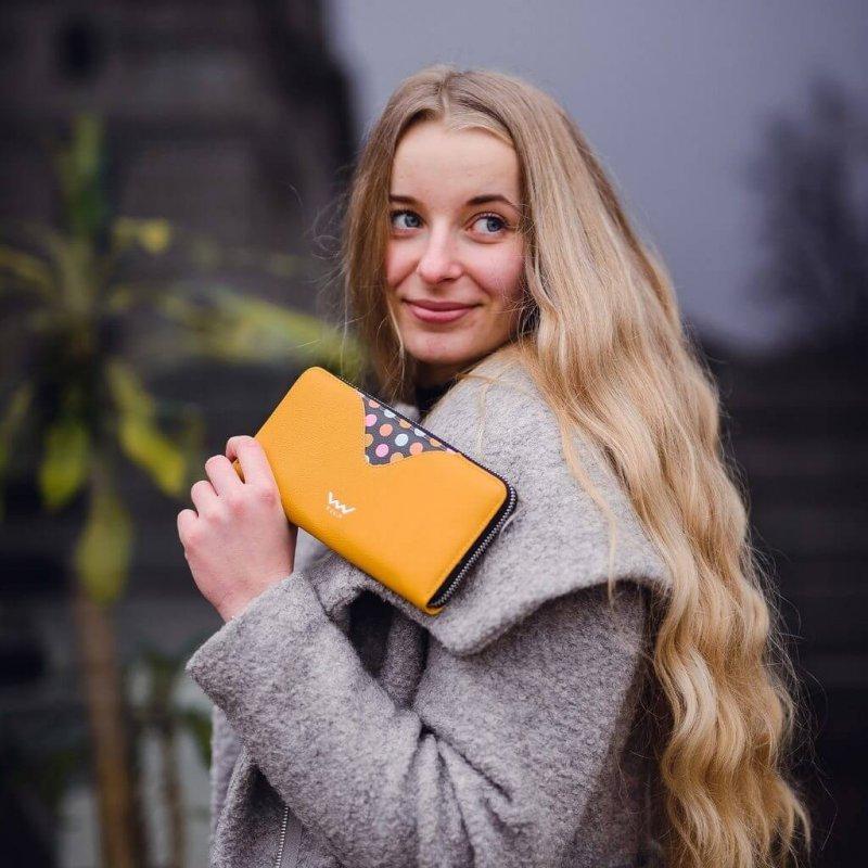 Dámská koženková peněženka VUCH Ronja, žlutá