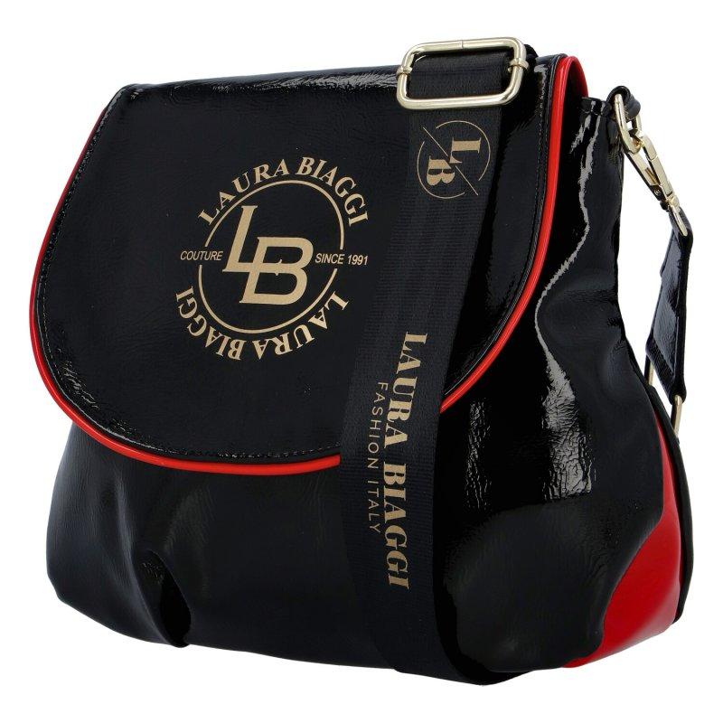 Stylová kabelka Laura crossbody, černá s červenou