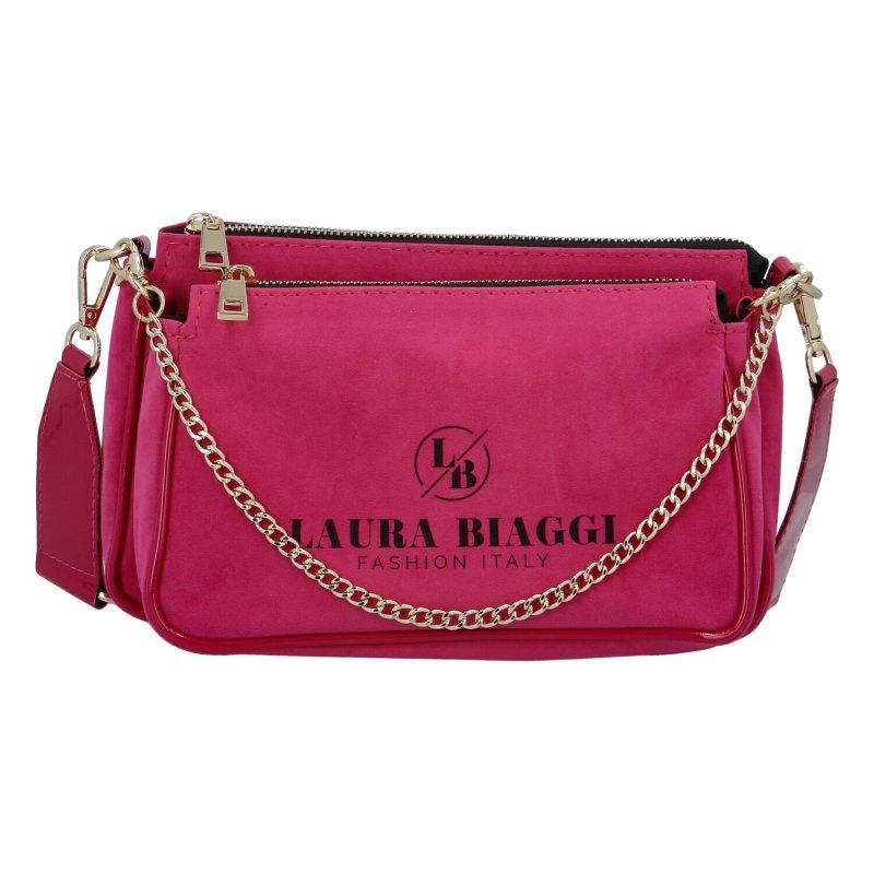 Výrazná semišová dámská kabelka  LB Sisley Pink, růžová