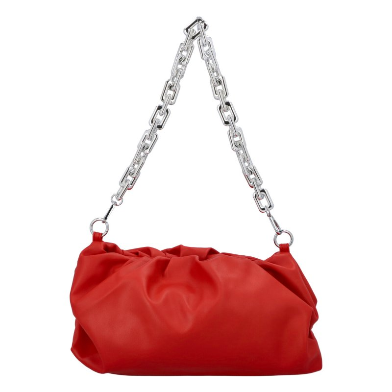 Zajímavá dámská koženková kabelka Evita, červená