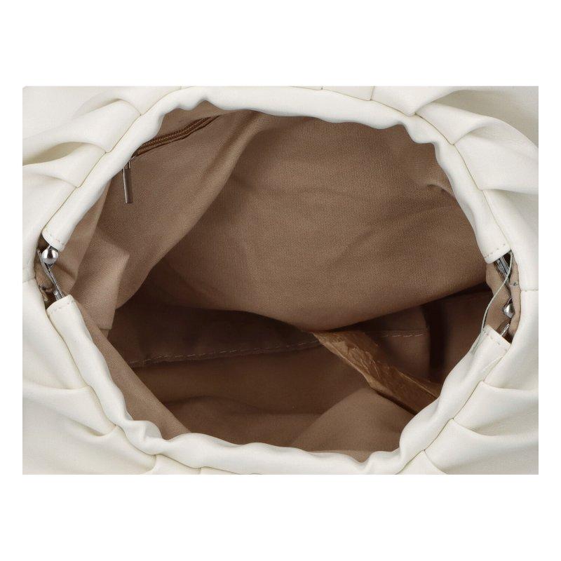 Zajímavá dámská koženková kabelka Evita, bílá