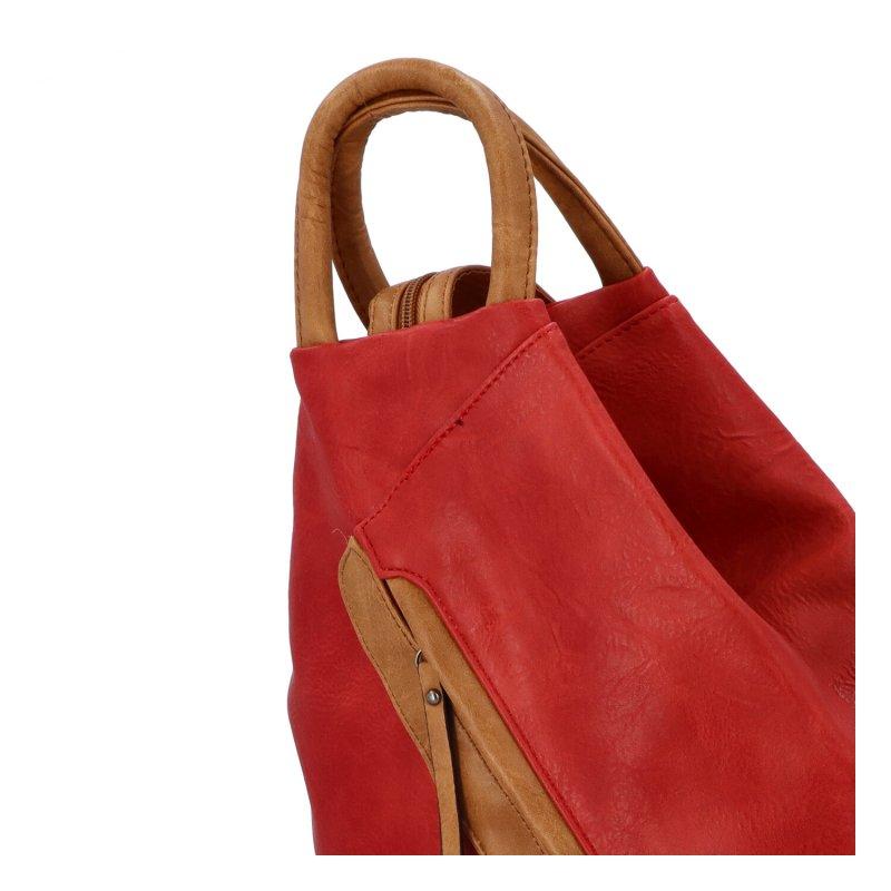 Šmrncovní koženkový batoh Eliška, červený