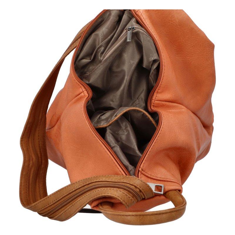 Šmrncovní koženkový batoh Eliška, oranžový