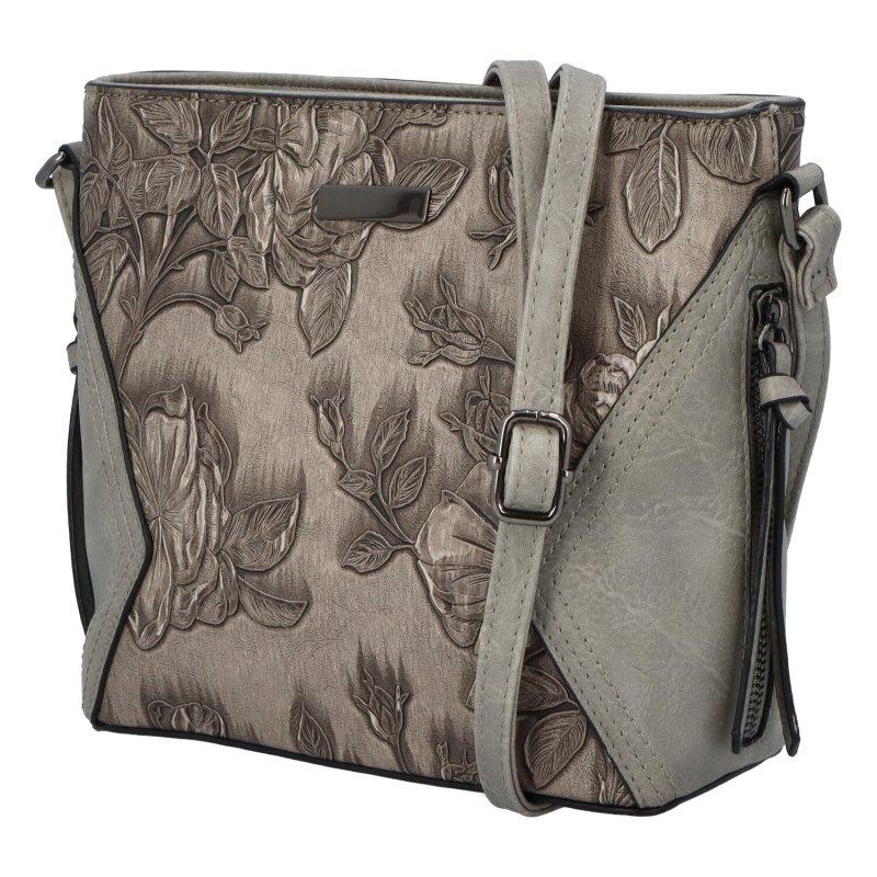 Romantická dámská koženková kabelka Jasna Flora, šedá