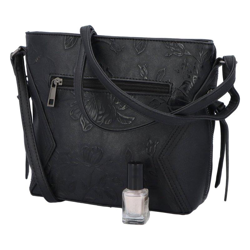 Romantická dámská koženková kabelka Jasna Flora, černá