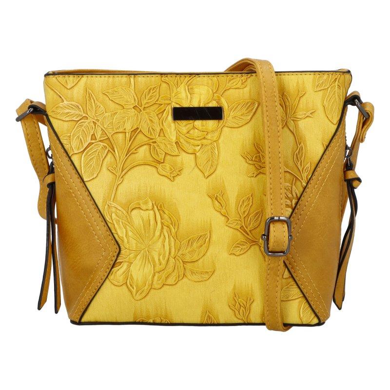 Romantická dámská koženková kabelka Jasna Flora, žlutá