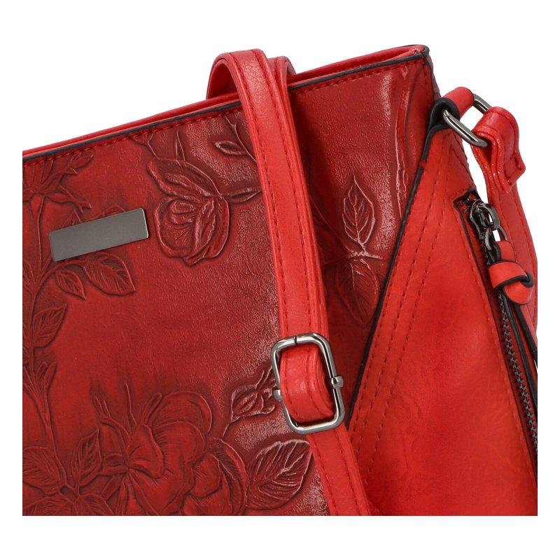 Romantická dámská koženková kabelka Jasna Flora, červená