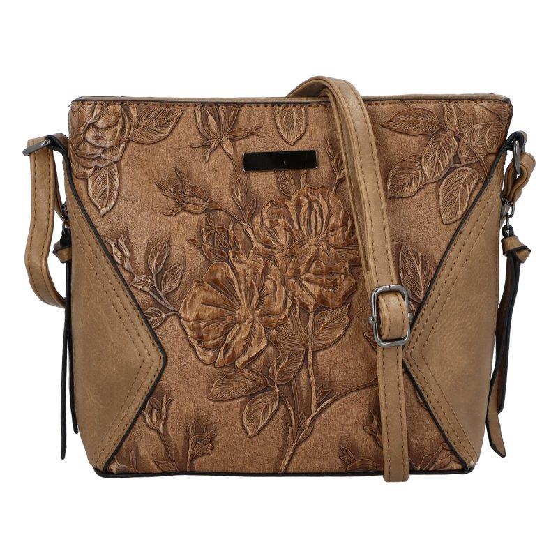 Romantická dámská koženková kabelka Jasna Flora, khaki