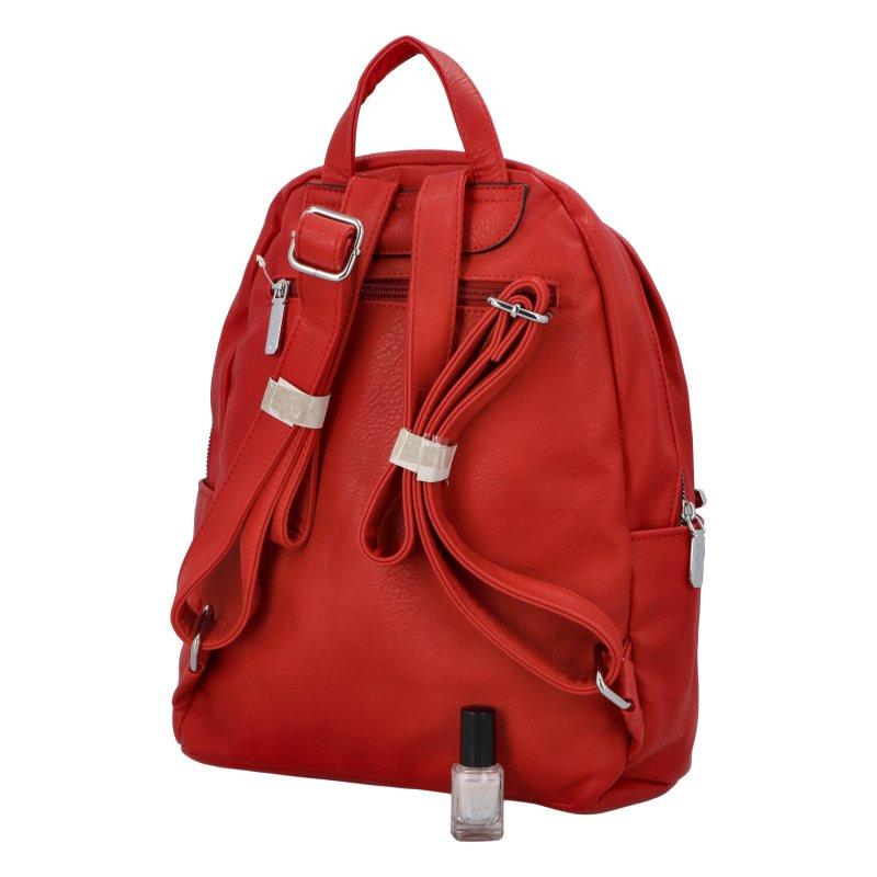 Dámský koženkový batoh Sasha, červený