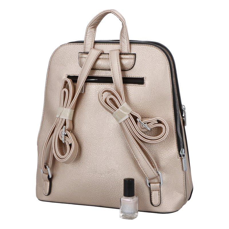 Dámský koženkový batoh Ema style, zlatý