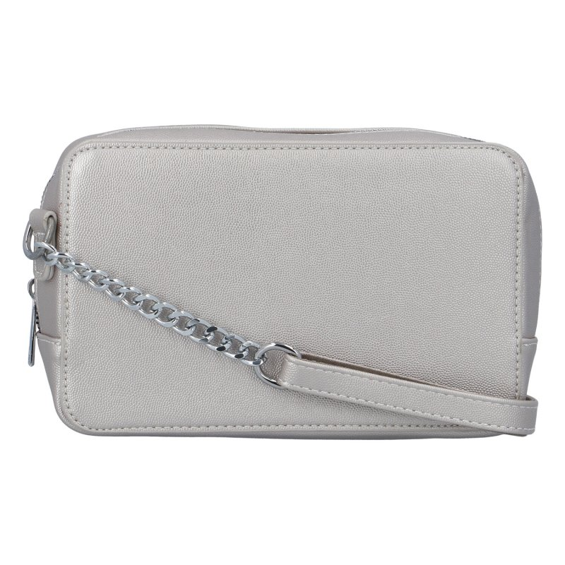 Módní dámská crossbody kabelka s řetízkem Dita, stříbrná