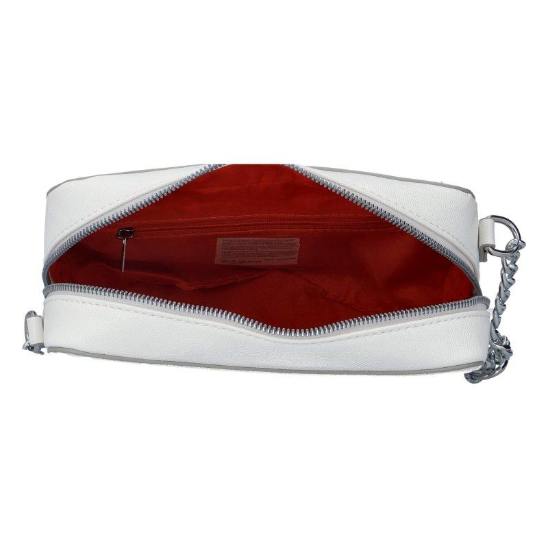 Módní dámská crossbody kabelka s řetízkem Dita, bílá