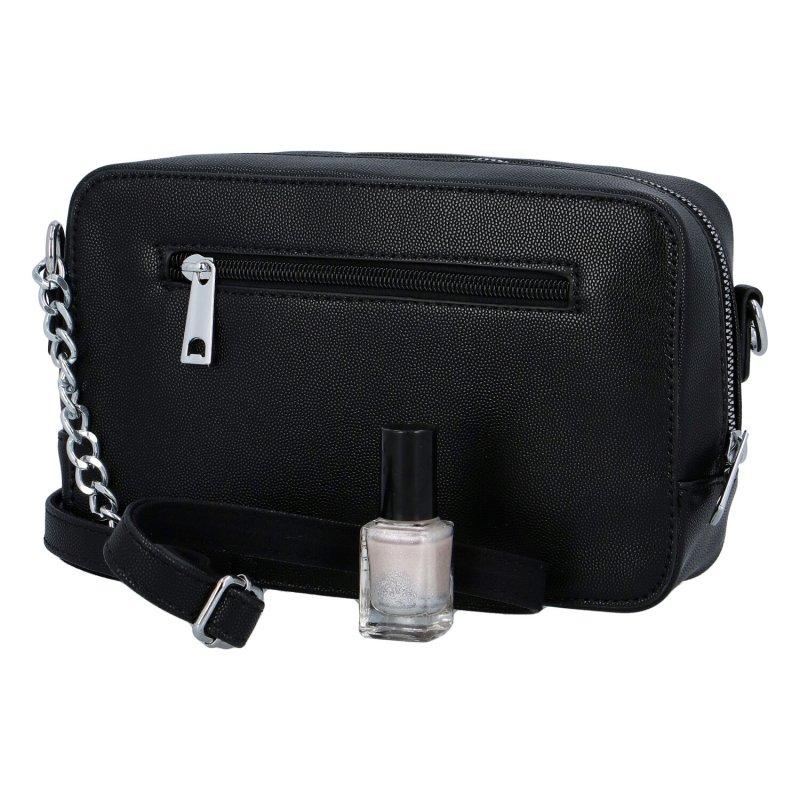 Módní dámská crossbody kabelka s řetízkem Dita, černá