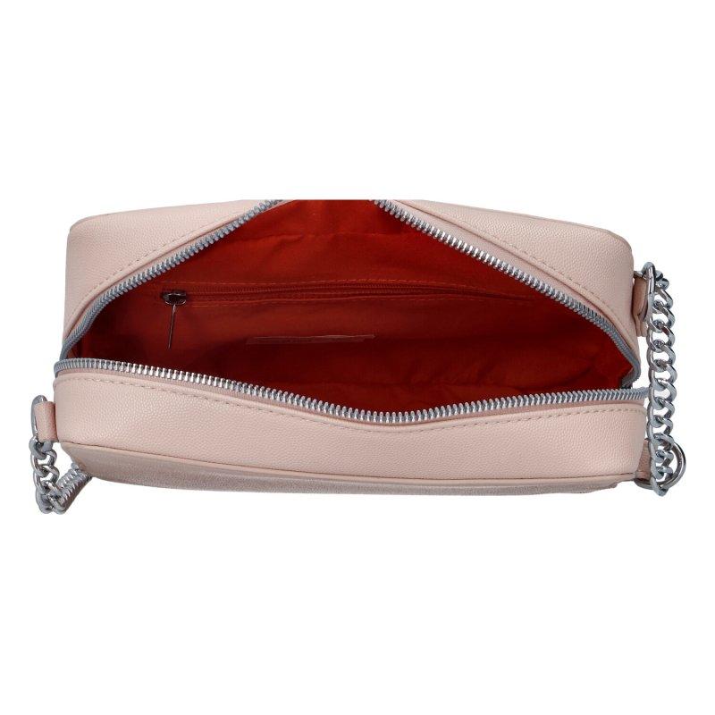 Módní dámská crossbody kabelka s řetízkem Dita, růžová
