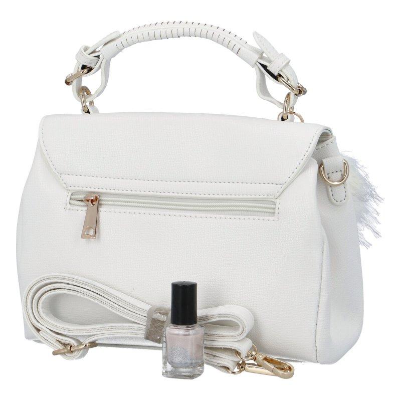 Luxusní dámská kabelka do ruky s bambulkou Joanna, bílá