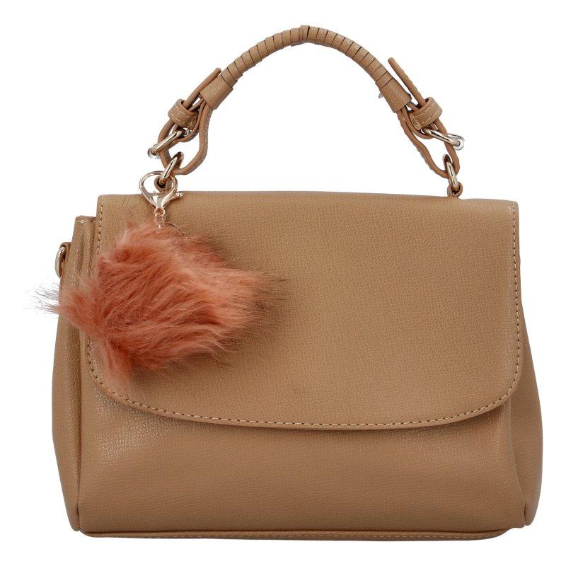 Luxusní dámská kabelka do ruky s bambulkou Joanna, khaki